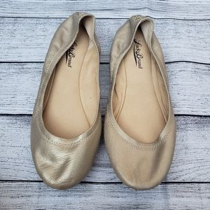 Lucky Brand Metallic Gold Leather Emmie Flats